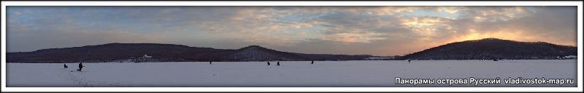 Фото панорама Русского острова. Панорама - Лед в бухте Труда.