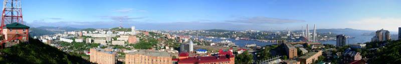 """Панорама Владивостока - """"Вид с сопки Крестовой"""""""