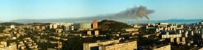 "Панорама г.Владивостока   ""Закат три трубы"""