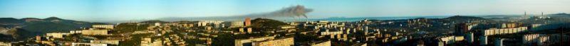 "Фото панорма Владивостока - ""Закат Три трубы"""