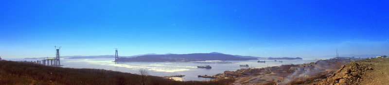 "Фото панорма Владивостока - ""Мост на остров Русский"""