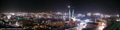 Панорама Ночь Золотого рога город Владивосток.