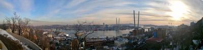 """Потрясающая вечерняя панорама г.Владивостока   """"Золотой рог вечером"""""""